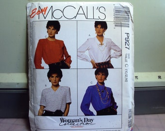 Womens blouse pattern has long or short sleeves, four different collars, McCalls copyright 1988