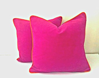 Fuchsia Velvet Pillow Cover,  Velvet Cushion Cover with Orange Piping, Free Shipping
