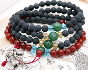 Pacifying 108 small japa mala (SJM) - stone needle, carnelian, and jade