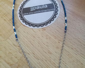 Blue and silver chevron necklace
