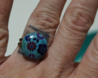 Turquoise & Flowers Adjustable Ring