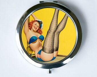 Compact MIRROR Pocket Mirror Pin up pinup Sailor  retro rockabilly