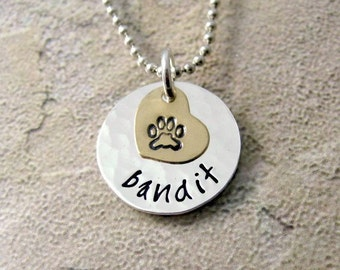 Pet Name Necklace - Personalized Necklace - Dog Mom Necklace - Cat Mom - Paw Print Necklace - Personalized Pet Jewelry - Gift For Pet Lover