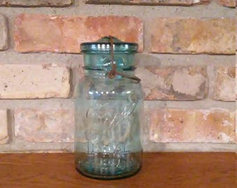 Ball Quart Jar Blue Vintage Aqua Ideal Glass Lid Wire Bail