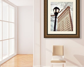 NYC Photography, Flatiron Building, NYC Wall Art Print, New York City Print, Winter, Beige, Travel Photography, Large Wall Art