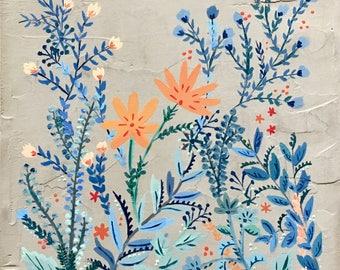 """Blue Florals - Painting on Concrete Canvas 12""""x12"""""""
