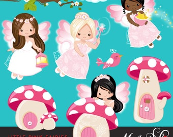 Little Pink Fairy Clipart. Cute Fairies Dressed up in Fairyland, Mushroom homes and magic graphics!