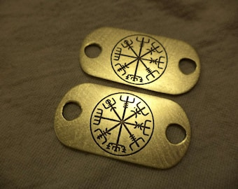 Viking compass etched brass shoelace tag set
