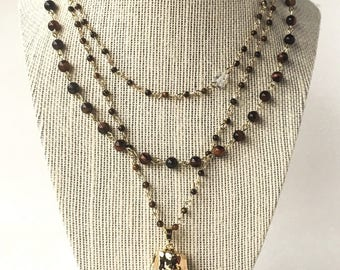 Multistrand Tiger's Eye Chain Necklace with Gold Plated Raw Clear Quartz Crystal and White Opal Bead