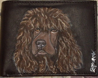 Irish Water Spaniel Dog Custom hand Painted Men's Leather Wallet