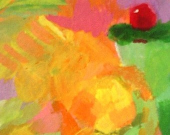 Abstract Mini Painting * ACEO * TROPICAL DRINK * Small Art Format By Rodriguez