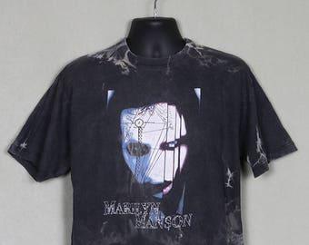 Marilyn Manson t-shirt, faded black, tie-dye, double sided