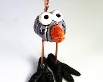 happy bird, ceramic bird, bird figurine, handmade bird, bird art, purple bird, bird