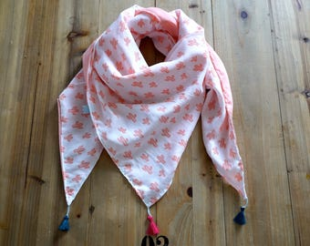Light pink and white reversible cheche with cactus