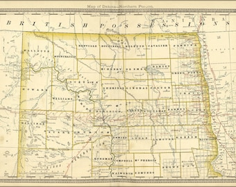 Poster, Many Sizes Available; Map Of North Dakota 1881