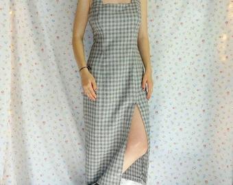 Gray Gingham Vintage Maxi Dress