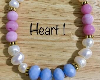 Purple and pink, heart charm bracelets
