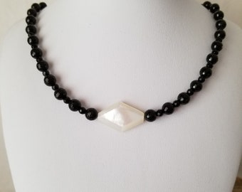 Black Onyx And Mother of Pearl Necklace With Fancey Sterling Silver Clasp