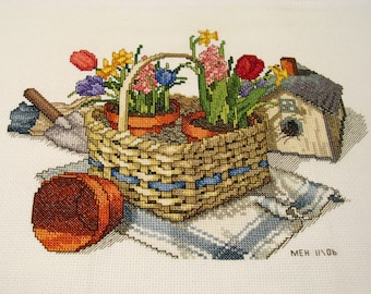 Cross Stitch Gardening Basket