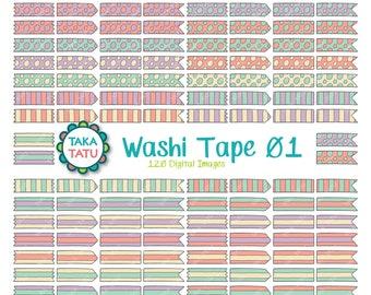 120 Washi Tape Clipart - Washi Tape Printable / Scrapbook / Scrapbooking / Planner / Bullet Journal / Organizer / Digital Washi Tape