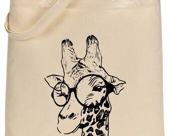 Chic Giraffe cotton tote bag - Book bag, Shopping bag,Reusable and Washable - Eco Friendly