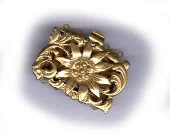 vintage clasp chunky FIVE STRAND CLASP, starburst design jewelry clasp vintage goldtone clasp