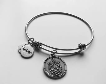 Craft Beer Hop Charm Bangle, Brewelry for the Craft Beer Lover, Craft Beer Element Bangle, Hop Element Bangle