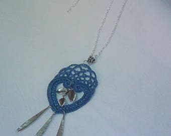 Necklace - blue embroidered heart