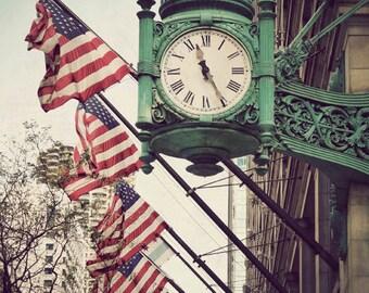 Chicago art, fine art print, travel photography, Marshall Field, mint green clock, Illinois picture - Marshall's Clock