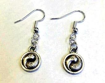 yin yang earrings - meditation earrings - hippy earrings