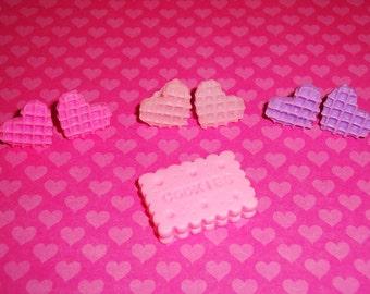 Waffle Cookie Heart Earrings