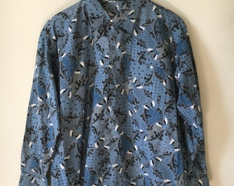 VTG 70's Psychedelic Blue Long Sleeve Button Down Shirt, Sz L