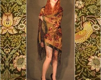 Long boho silk fringe kimono / fall olive green velvet burnout jacket with old English roses / wide sleeves