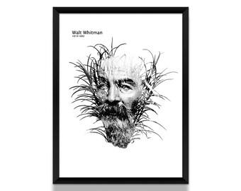 Walt Whitman Poster, Literature Poster, Walt Whitman Art, Black and White Poster, Literary Art, Book Lover, Literary Gift