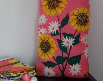 Vintage Sunflowers Tea Towel Cushion