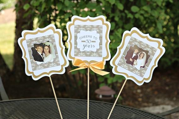 50th Wedding Anniversary Party: GOLDEN ANNIVERSARY 50th Anniversary Centerpiece Sticks