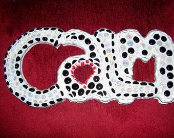 Calm Mosaic Wall Word art black white red silver spa