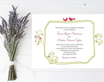 Fast Wedding Invitations - Quick Wedding Invitation, Garden Wedding Invitation