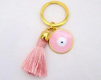 tassel keychain- tassel key chain- evil eye keychain-keychain tassel- tassel-boho keychain-cute keychain-tassel-charm keychain-gift for her-