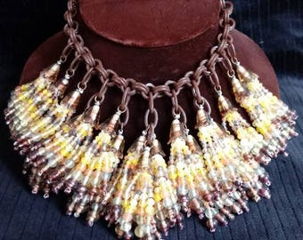 Vintage 1940s early plastic chain and glass bead tassel bib necklace - Bakelite - Statement Necklace - Unusual - Gifts for Her