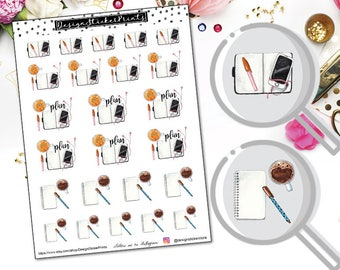 Planning Time Stickers/Planner Stickers for Erin Condren Lifeplanner/Happy Planner Stickers/Deco Sticker kit/Watercolor Planner Stickers