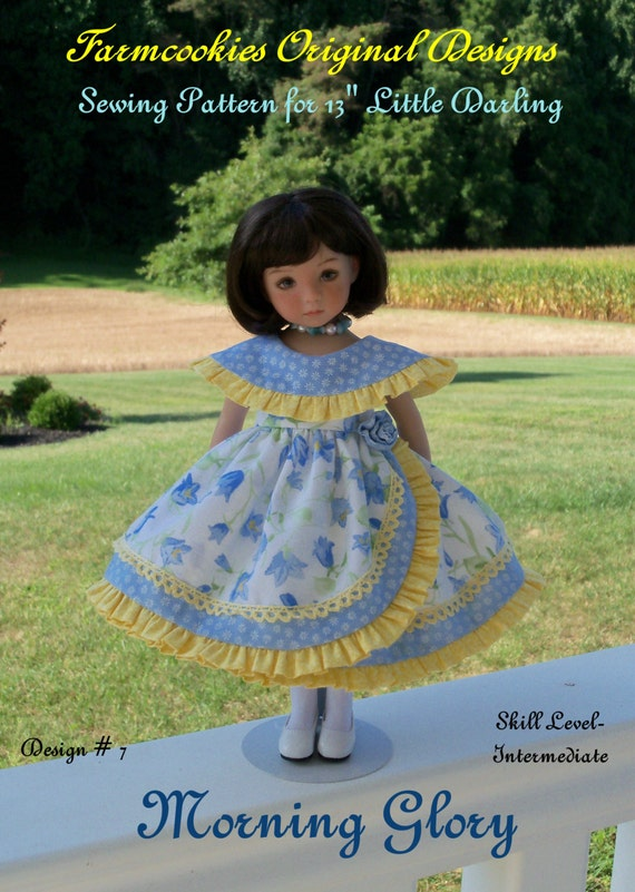 """PDF Sewing Pattern / MORNING GLORY for  Dianna Effner's 13"""" Little Darling Dolls"""