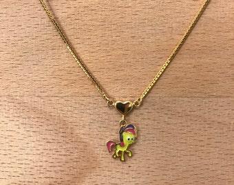 15k gold Bon Bon My Little Pony charm necklace