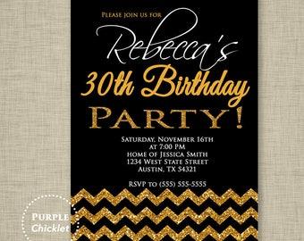 30th Birthday Invitation Chevron invitation Black Gold Invite Glitter Sparkle Printable Black Adult Party Invite JPEG file (60)