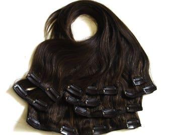 Full Head of Clip-In 100% Human Hair Extensions - 4 Dark Brown