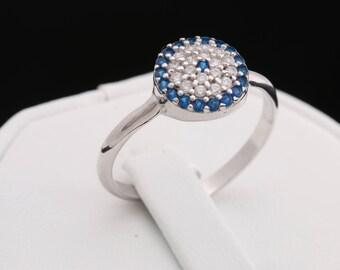 Special Design Turkish Nazar Handmade Evil Eye Good Luck 925 Sterling Silver Sapphire White Topaz Ring Adjustable Size