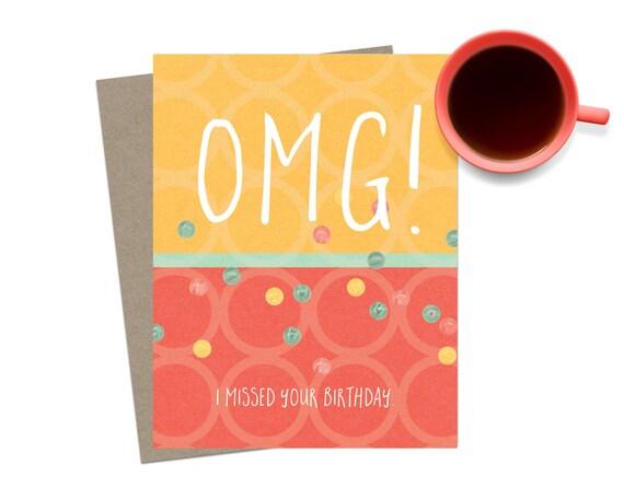 Items Similar To Funny Belated Birthday Card Happy Birthday Card