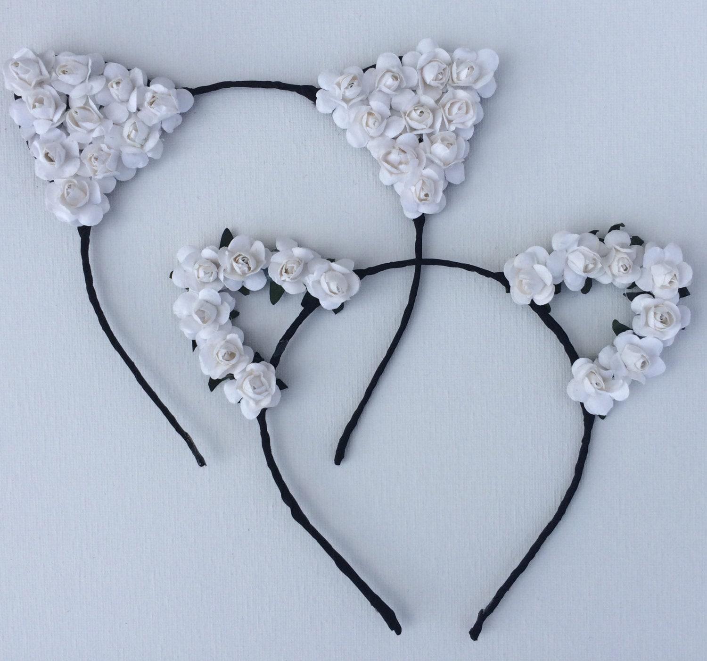 White Flower Cat Ear Headband Worn By Vanessa Hudgens
