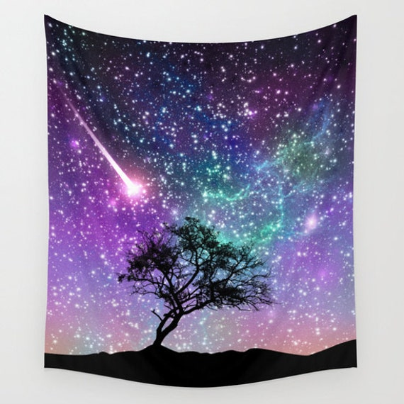 Tree Wall tapestriy Space wall tapestry Galaxy wall art Nebula wall  tapestry Blue space tapestry Galaxy tapestry Violet Space wall hanging