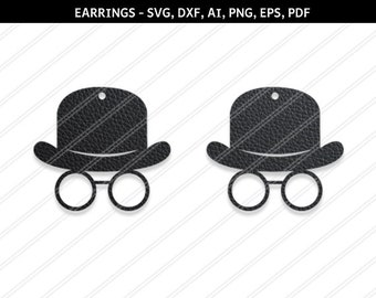Hat earrings svg,Hat svg,Jewelry svg,leather jewelry,Cricut silhouette,Earrings vector,Shoes earring,svg,dxf,ai,eps,png,pdf